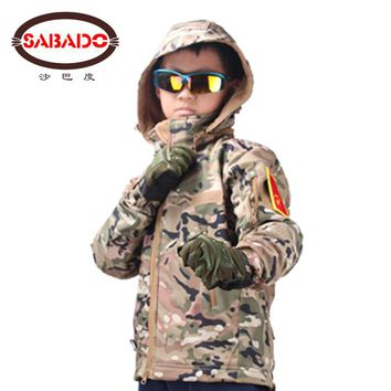 outdoor camouflage Waterproof children TAD Tactical Shark Skin Softshell hunting jacket kids Army Clothes