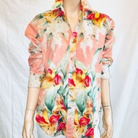 VTG 1990's Ralph Lauren Tropical Shirt, Size 4, Woman's Blouse, Cotton, Antique | eBay