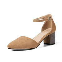 Genuine Leather Pointed Toe Ankle Strap Chunky High Heels Sandals 1724