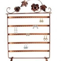 """17""""h Copper Color Roses on Wine Vintage Jewelry Earring Holder / Organizer / Stand / Display"""
