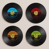 Record Drink Coasters, Set of 4