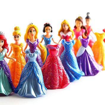 7set lot 9cm Princess Snow White Cinderella Mermaid anime action figure set with magic clip dress best kids toys for girls SA480