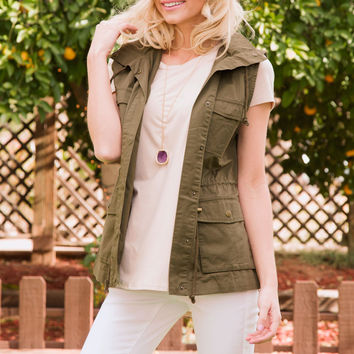 Brie Utility Vest - Olive