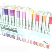 Too. Copic Marker Set - Ciao 72 Colors Pen Set A, Japan Drawing Markers, Anime, Animation, Comic Manga Art Supplies - Non-Toxic, Entry Model