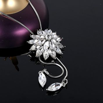 Girl Women Rhinestone Crystal Necklace Christmas snowflake have more cash than can be accounted for Crystal Necklace #30