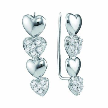 10kt White Gold Women's Round Diamond Heart Climber Earrings 1-2 Cttw - FREE Shipping (US/CAN)