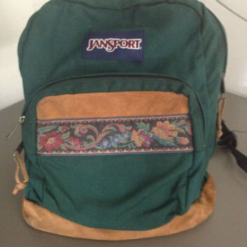 Nice Vintage Green Jansport Leather Bottom Backpack Bag School floral canvas
