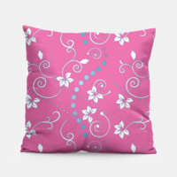 white flowers blue dots on pink pillow, Live Heroes