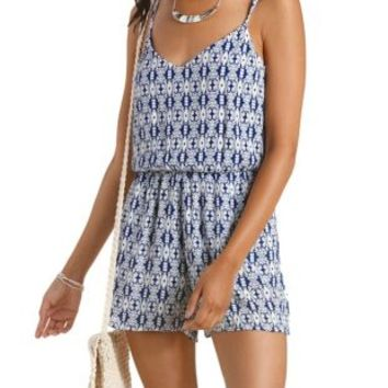 Navy Combo Strappy Tribal Print Romper by Charlotte Russe