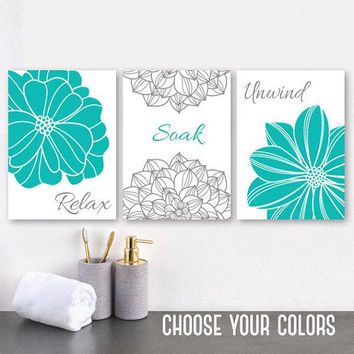 Turquoise Flower BATHROOM WALL Art, Bathroom CANVAS or Prints, Turquoise Gray Bathroom Decor, Relax Soak Unwind, Bathroom Quotes, Set of 3