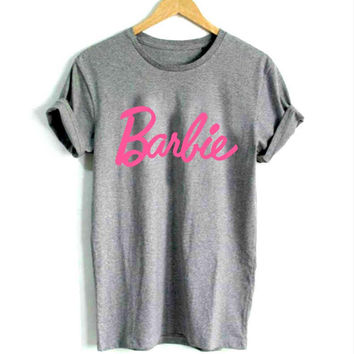 Barbie Women's Casual Gray & Pink T-Shirt