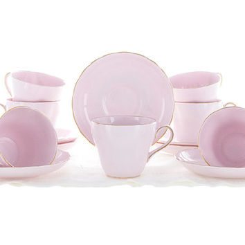Vintage Tuscan Tea Cups and Saucers Fine English Bone China Pastel Pink Cups with Gold Trim Excellent Condition Set of 7 Wedding Cups