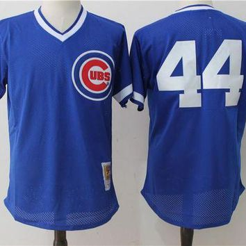 ONETOW Mitchell & Ness Ryne Sandberg Chicago Cubs Anthony Rizzo Authentic Collection Throwback Replica Jersey - Royal Blue