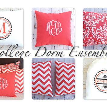 College Dorm Bedding Ensemble Dorm Accessories Dorm Decor Twin Bedding Personalized Dorm Graduation Gift Laundry Bag Monogram Pillowcase