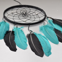Wall Hanging Dream catcher, Native American Dreamcatcher, Wall Hanging Decor, Hippie Dreamcatcher, Turquoise and Black Feathers