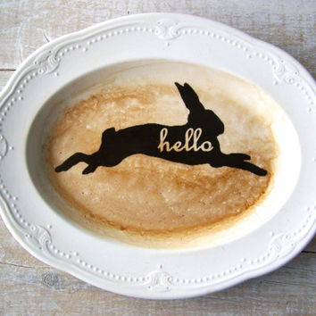 Hello Sign // Rabbit Silhouette // Animal Silhouette  // ECO DECOR // Wall Decor // Modern Shabby CHIC Welcome sign