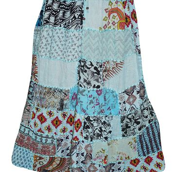 Women's Bohemian Skirts Printed Vintage Patchwork Rayon Long Skirts L