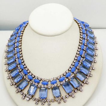 Sky Blue and Clear Rhinestone Czech Rhinestone Bib Necklace