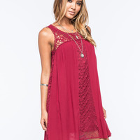 Love Fire Mixed Media Shift Dress Burgundy  In Sizes