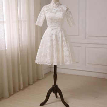 High Collar Lace Wedding Dresses Half Sleeves Knee Length A-line Bridal Gowns Little White Dress