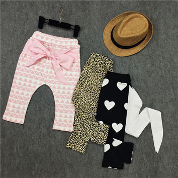 Fashion Autumn Winter Baby Girls Leopard Leggings Cute Heart Pattern Pink Big Bow Baby Pants 0-3Y Toddler Girls Clothing