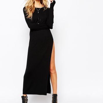 Noisy May Molde Long Knit Dress With Slit