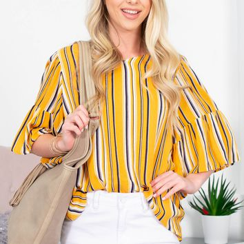 Sunflower Striped Flutter Top | Mustard