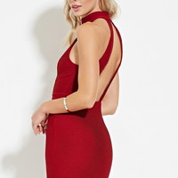 Pintucked Zipper Halter Dress