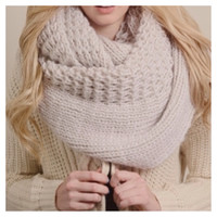 """Extra Large"" Thick Chunky Knit Ivory Infinity Scarf"