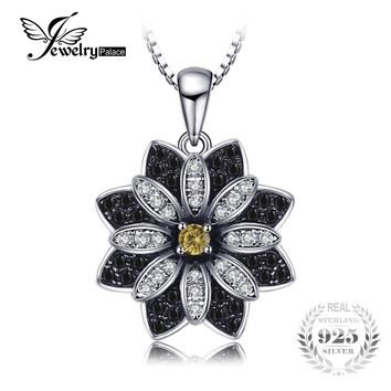 JewelryPalace Flower Natural Taupe Smoky Quartz Black Spinel Pendant 100% 925 Sterling Silver Fine Jewelry Not Include the Chain