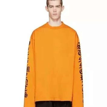 2016SS TOP VETEMENTS oversized t shirt kpop kanye west men women long sleeve letter printing tee justin bieber 5 color S-XL