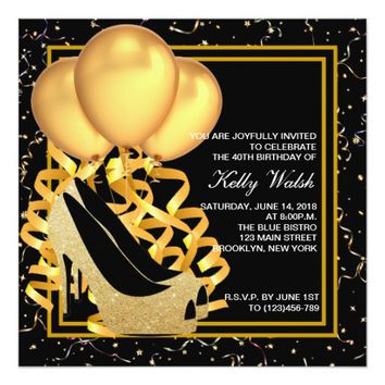 Gold Glitter High Heels Womans Birthday Invite