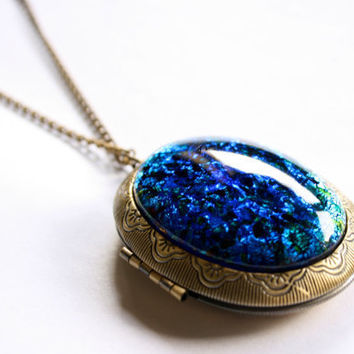 Peacock Gem Locket