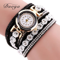 New Duoya Fashion Leather Bracelet Watch Women Wristwatch Casual Gold Classic Rhinestone Quartz Watch Electronic Wrist Watches