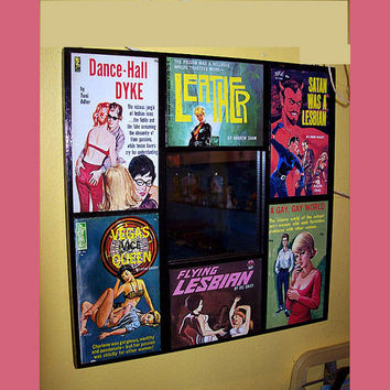 Lesbian pulp wall mirror retro vintage 1950's pin up paperback pulp fiction art sleaze kitsch