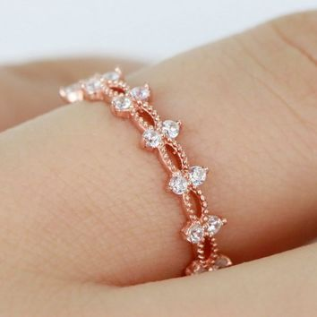 Sterling Silver Stackable Half Eternity Ring/Rose Gold Ring/Simple Ring S130