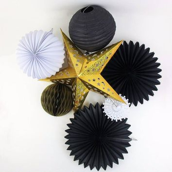 7-PCS Black White Gold Theme Decoration Set-DIY Gold Star Black Paper Fans, Pleated Lanterns, Honeycomb Ball Hanging Party Supplies
