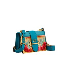 Cahier straw and calf leather bag