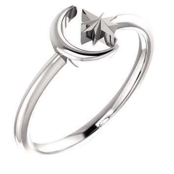 Crescent Moon & Star Negative Space Ring