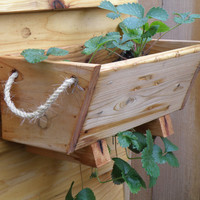 "1 16"" cedar herb, tomato, flower, and strawberry gardening window box planter - free shipping"