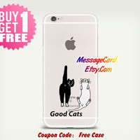 Cute Cats Clear Phone Case Cover , Personalized Clear iPhone 6 6s Case , Crystal Clear iPhone 6 6s plus Case , Custom Clear iPhone 6 6s Case