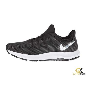 Womens Nike Quest + Crystals - Black/Metallic Silver/Dark Grey