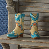 Hacienda Cowboy Cowgirl Boots Salt & Pepper Shaker Set