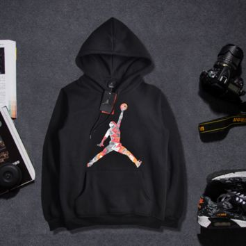 Autumn and winter new men's basketball sports cotton Fleece sweater men's hooded couple tide brand sweater