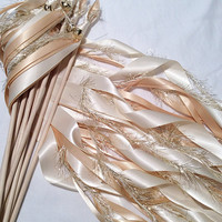 100 Wedding wands ivory and toffee with metallic gold frayed ribbon and bell send off ribbon
