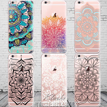 Colorful Floral Paisley Flower Mandala Henna Clear Case For iphone 6 6s 6plus Silicone Soft Cover