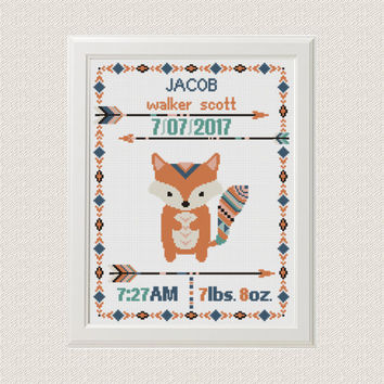 Cross stitch Birth announcement Fox cross stitch pattern baby sampler new baby boy birthday gift  aztec tribal nursery home decor