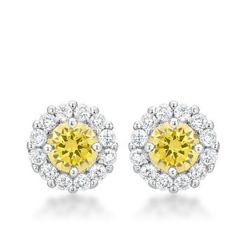 Belle Canary Yellow Halo Stud Earrings a390640603