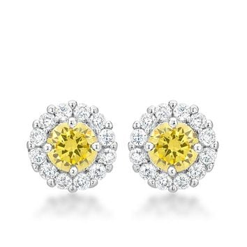 Belle Canary Yellow Halo Stud Earrings