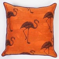 Flamingos on Firefly by Laura Goldstein: Silk Pillow | Artful Home